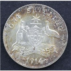 1914 Shilling Nearly Unc Attractive