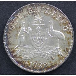 1928 Shilling, Nearly Uncirculated
