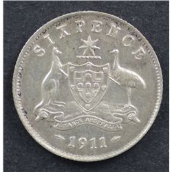 1911 Sixpence Good Extremely Fine