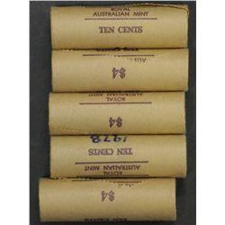 1978 10c Mint Rolls x 5 (200 Coins)
