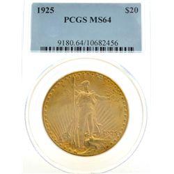 ^*1925 $20 U.S. PCGS MS 64 Saint Gaudens Gold Coin