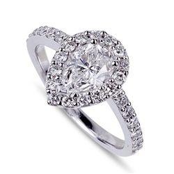 APP: 16k *14 kt. White Gold, 1.07CT Pear Cut Diamond And 0.48CT Diamond Ring