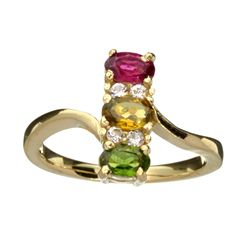 APP: 1.3k 14 kt. Gold, 0.80CT Oval Cut Corundum Ruby And Sapphire Ring