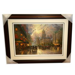 Thomas Kinkade - Museum Framed & Matted Lithograph - Signed, Numbered ''New York Fifth Ave''