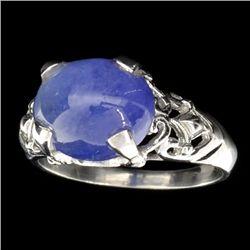 APP: 2k Designer Sebastian 7.80CT Oval Cut Cabochon Tanzanite and Sterling Silver Ring
