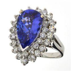 APP: 13.8k *14 kt. White Gold, 3.55CT Mixed Cut Tanzanite And 1.37CT Diamond Ring