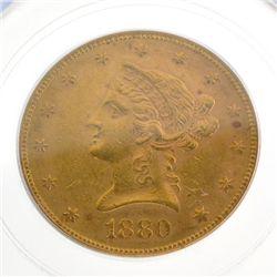 *1880 $10 U.S MS60 Liberty Head Gold Coin