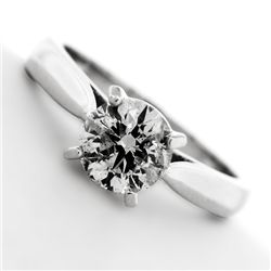 APP: 7.9k *14 kt. White Gold, 1.10CT Round Cut Diamond Ring