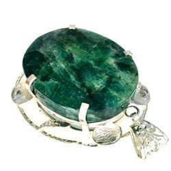 APP: 4.8k Designer Sebastian 289.50CT Oval Cut Green Beryl Emerald and Sterling Silver Pendant