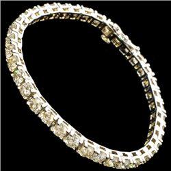 APP: 30.3k *9.67CT 14 kt. White Gold, Round Cut Diamond Tennis Bracelet