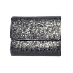 ^Authentic CHANEL Caviarskin Tri-Fold Black Wallet