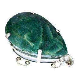 APP: 6.6k Designer Sebastian 401.80CT Pear Cut Green Beryl Emerald and Sterling Silver Pendant