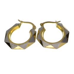 Exquisite 14 kt. Gold, Two Tone Hexagon Earrings