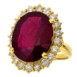 APP: 7.7k *14 kt. Gold, 12.70CT Mixed Cut Ruby And 1.53CT Diamond Ring