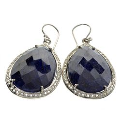 APP: 5.2k 44.00CT Blue Sapphire And Topaz Platinum Over Sterling Silver Earrings