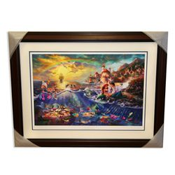 Thomas Kinkade - Museum Framed & Matted Lithograph - Signed, Numbered ''Little Mermaid''