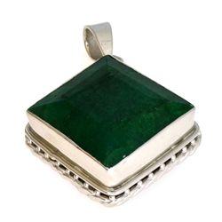 APP: 1.4k 97.84CT Square Emerald Cut Emerald And Sterling Silver Pendant
