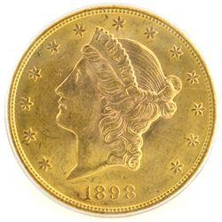 *1898-S $20 U.S. PCGS AU58 Liberty Head Gold Coin