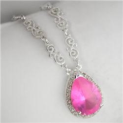 Fancy Colored French Cubic Zirconium Sterling Silver Necklace