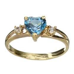 APP: 0.6k 14 kt. Gold, 1.03CT Heart Cut Blue Topaz And White Sapphire Ring