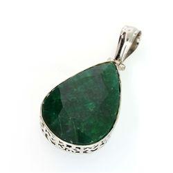 APP: 3.4k 86.14CT Pear Cut Green Beryl and Sterling Silver Pendant