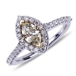 APP: 9.2k *14 kt. Two Tone Gold, 0.55CT Marquise Cut Diamond And 0.46CT Diamond Ring