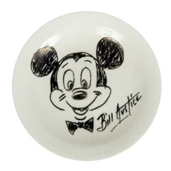 Bill Justice Hand Drawn Mickey Mouse on Plate