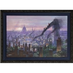 Mary Poppins Climbing Up the Smoke Stacks Framed Giclée Signed by Peter Ellenshaw