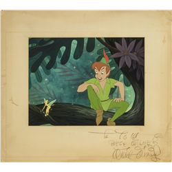 Walt Disney Signed Original Production Cel & Background from Peter Pan