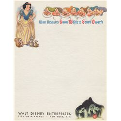 Vintage 1937 Walt Disney Snow White & The Seven Dwarfs Letterhead