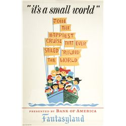 Vintage Disneyland It's a Small World Attraction Poster