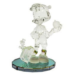 Pinocchio & Jiminy Cricket Glass Sculpture