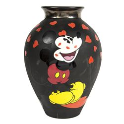 Elisabete Gomes Signed Limited Edition Mickey & Minnie Mouse Hearts Collectors Art Vase