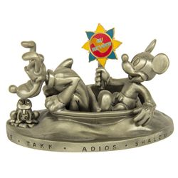 It's a Small World Mickey & Goofy Voyage of Happiness Sculpture Signed by Eddie Carroll