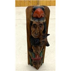 Indian head wood carving