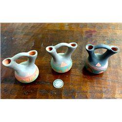 Three miniature Navajo wedding vases