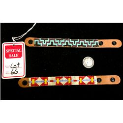 Pair of leather beaded bracelets