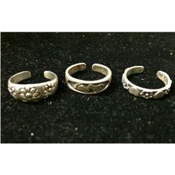 Three sterling silver toe rings