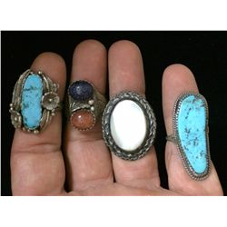 Four Native American Sterling, vintage rings