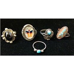 Five misc. Southwestern style rings