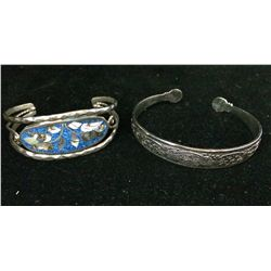 Pair of Southwestern style cuff bracelets