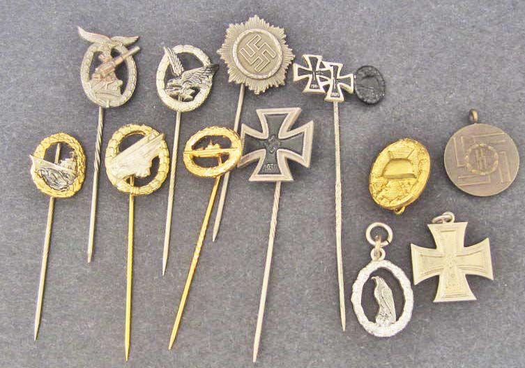 LOT OF 13 GERMAN NAZI STICK PINS & MINIATURE MEDALS
