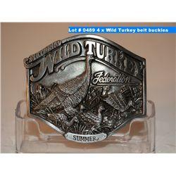 4 x Wild Turkey belt buckles