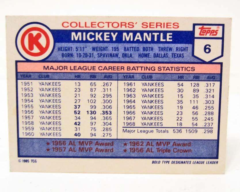 1985 TOPPS MICKEY MANTLE #6 CIRCLE K BASEBALL CARD
