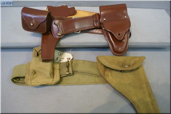 Lot of Two Items : Sam Browne Leather Holster ( Smith