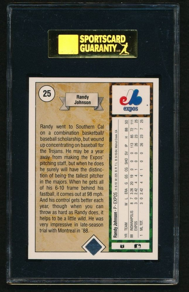 1989 Upper Deck 25 Randy Johnson Rookie Card Sgc 98