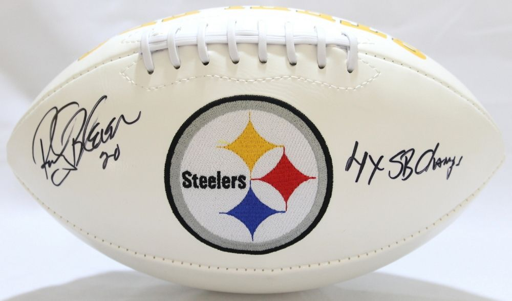 3963bec0f Image 1   Rocky Bleier Signed Steelers Logo Football Inscribed