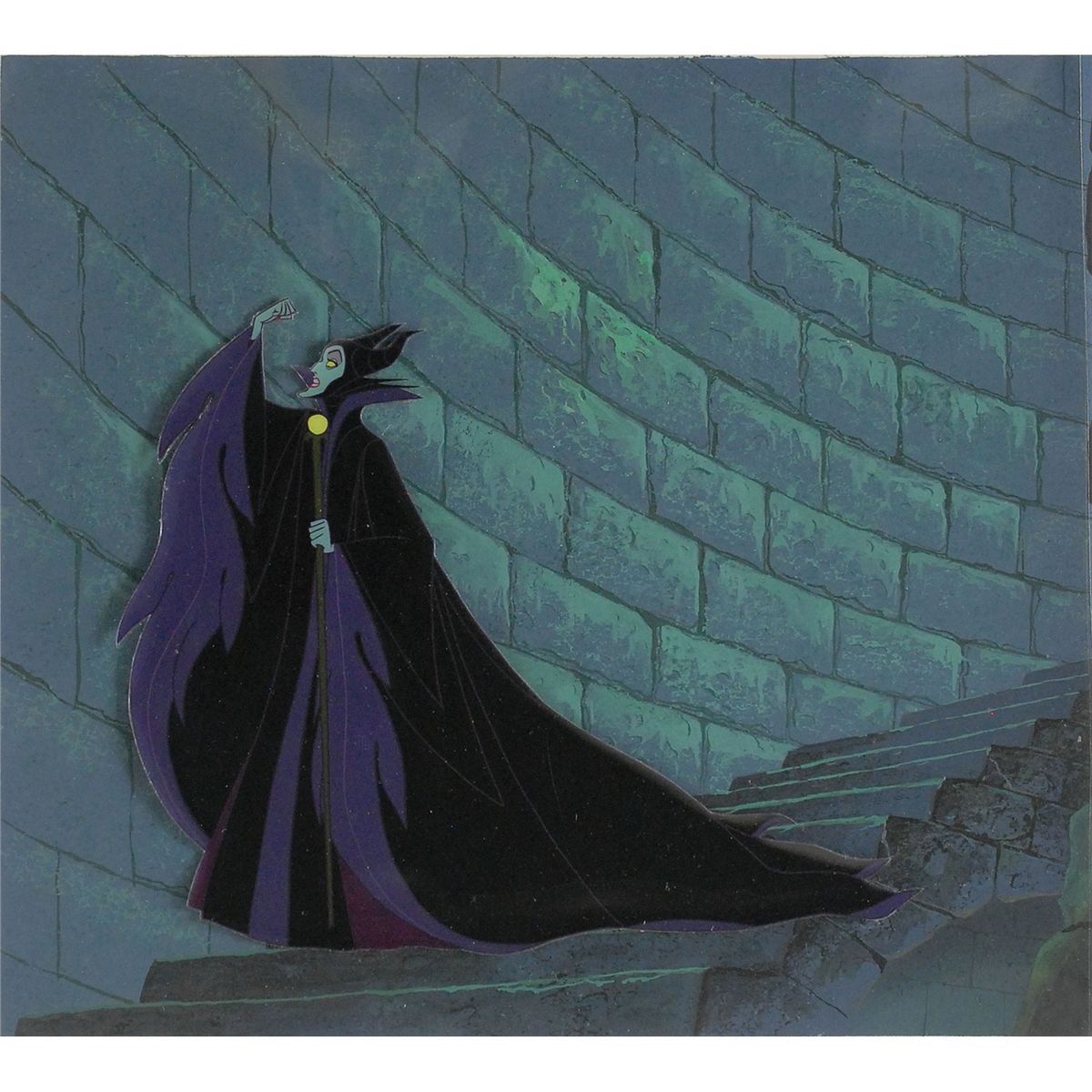 Maleficent Cut Out Production Cel Placed On A Partial