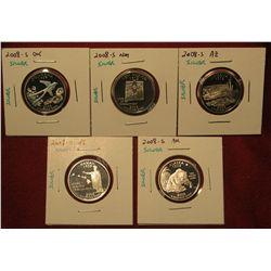 3. Set Of 5 2008-S Proof 90% Silver Statehood Quarters – Ok, Nm, Az, Hi, AK