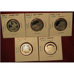 4. Set Of 5 2012-S Proof 90% Silver America The Beautiful Quarters – PR, NM, ME, HI, AK – Scarce
